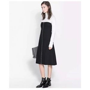 Strapless zip front midi dress